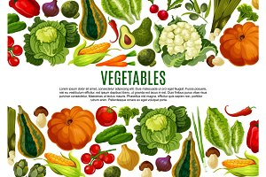 Vegetable and mushroom border banner design
