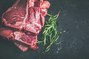 Raw beef meat t-bone steaks