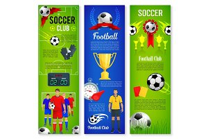 Soccer or football sport game banner template set