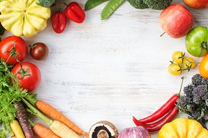 Top view of rainbow vegetables, fruits, copy space