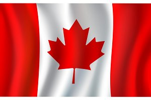 Canadian flag, maple leaf 3d symbol of Canada