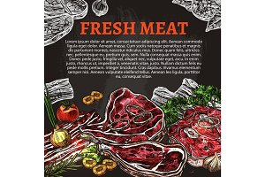 Fresh meat chalkboard poster, butcher shop design