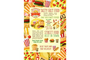 Fast food restaurant lunch banner template design
