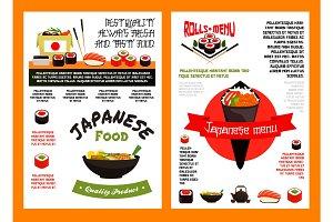 Japanese seafood sushi menu banner template