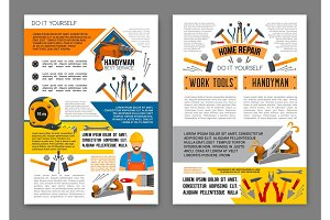 Home repair work tool banner template set