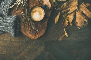 Autumn morning coffee concept
