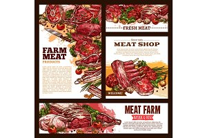 Meat fresh cut sketch banner template set