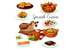 Spanish cuisine dinner menu poster design