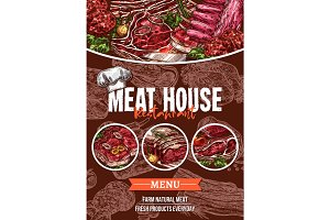 Meat menu sketch banner for barbecue restaurant