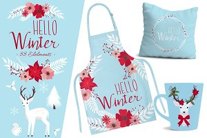 Hello Winter Clip Art Set