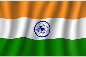 Indian flag 3d vector, national banner of India