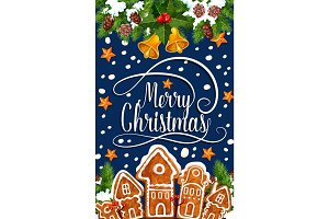 Merry Christmas happy holiday vector greeting card