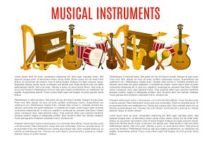 Musical instrument poster template, music design