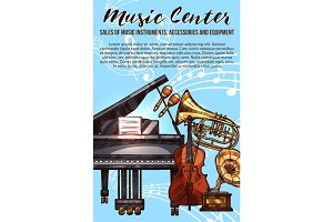Music instrument sketch banner with musical notes