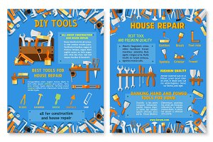 Construction and house repair work tool poster set