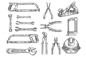 Construction and repair tool isolated sketch set