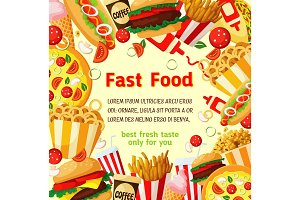 Fast food poster with fastfood meal, drink frame