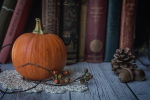 Tiny Pumpkin and Vintage Books