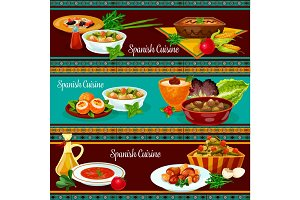Spanish cuisine restaurant dinner banner set