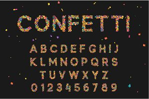Colorful font from confetti