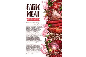 Sausage and meat, farm product banner template