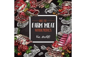 Fresh meat farm food chalkboard poster design
