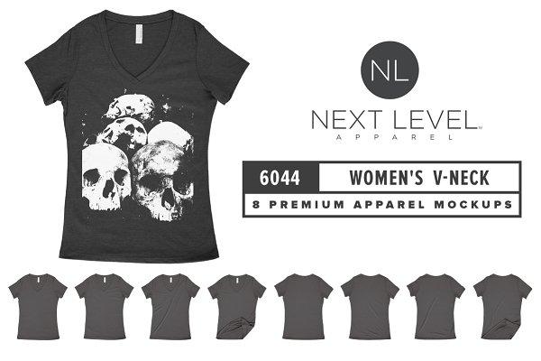 Next Level 6044 Women's V-Neck Mock…