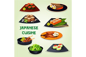 Japanese cuisine icon for asian food design