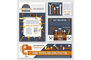 Home repair, construction tool poster template set