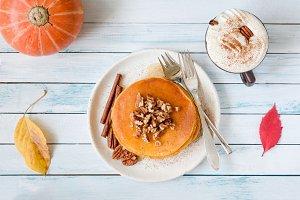 Pumpkin pancakes and pumpkin spice latte