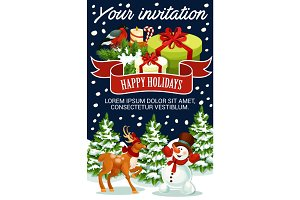 Christmas greeting vector New Year poster