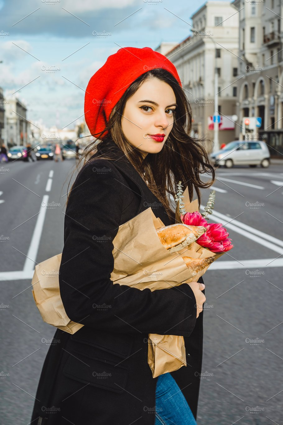 French woman in beret with baguettes ~ Beauty   Fashion Photos ~ Creative  Market 7a795c632da