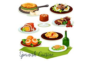 Spanish cuisine icon design with meat and seafood