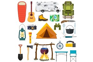 Vector set of camping elements.