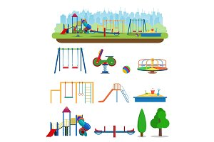 Kids playground. Buildings for city construction.