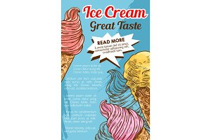 Ice cream cone dessert retro sketch poster