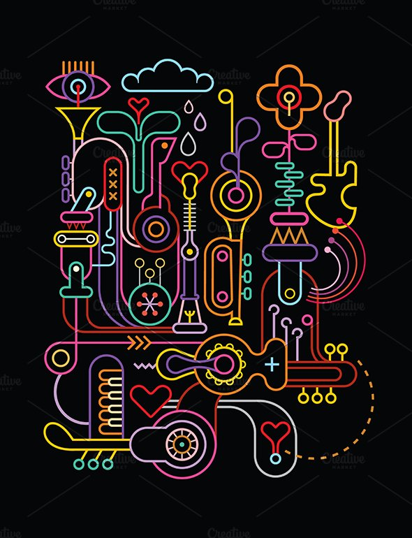 Abstract art vector composition illustrations creative for The craft of musical composition