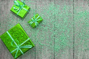 Holiday gifts in green