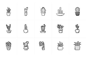 House potted cactus and succulent sketch icon set.