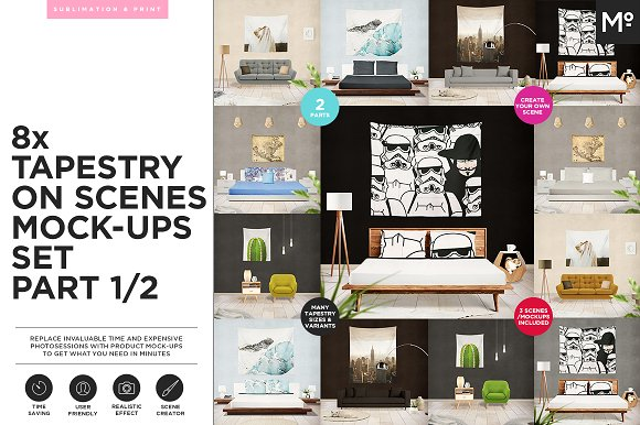 Download 8x Tapestry on Scenes Mock-ups 2/2