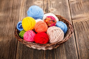 Knitting yarns in basket