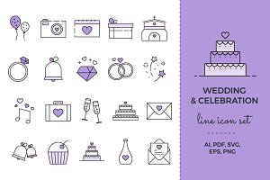 Wedding & Celebration Icon Set