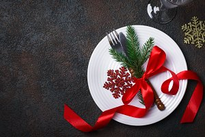Christmas table setting with christmas decorations