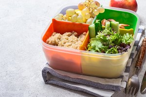 lunch box with a balanced meal. Healthy food concept in the office
