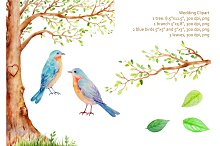 Watercolor Wedding Tree Blue Birds