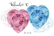 Watercolor heart. Abstraction #2