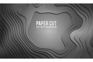 Paper cut banner concept. Paper carve abstract background for card poster brochure flyer design in grey colors. 3d abstract background