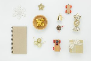 Flat lay Christmas  decoration.
