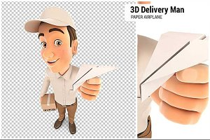 3D Delivery Man Paper Airplane