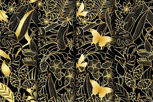 4 Tropical Gold Seamless Patterns